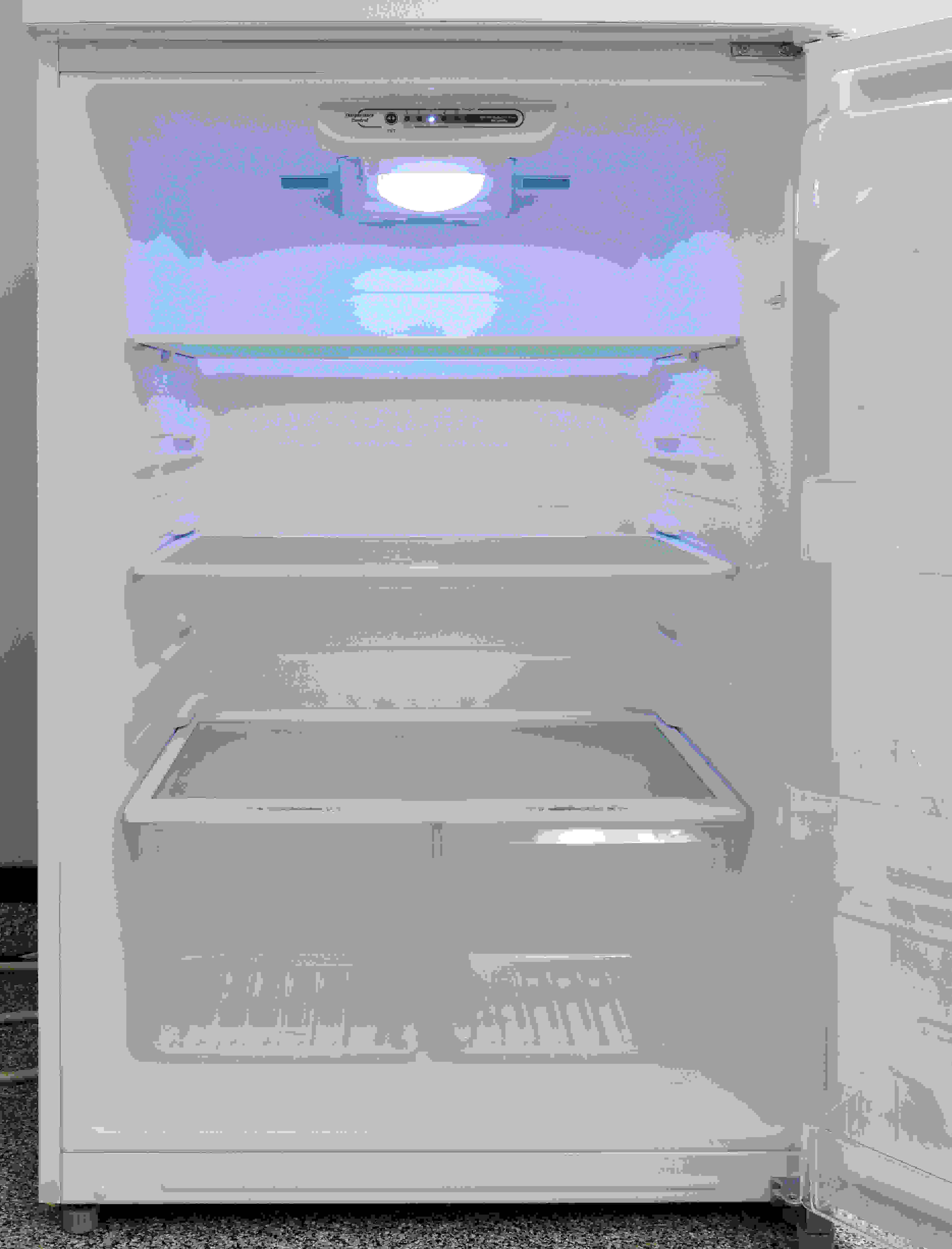 The fridge interior is roomy and features adjustable shelves, but the light was unusually dim.
