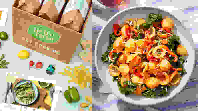 On the left, a box packed Hello Fresh meal kits and some fresh produce and a recipe card are on a counter. On the right, a bowl of tomato pasta is in the center.