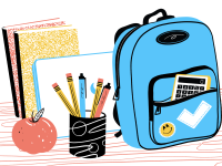 Journal, backpack, pencil and apple on a student's desk