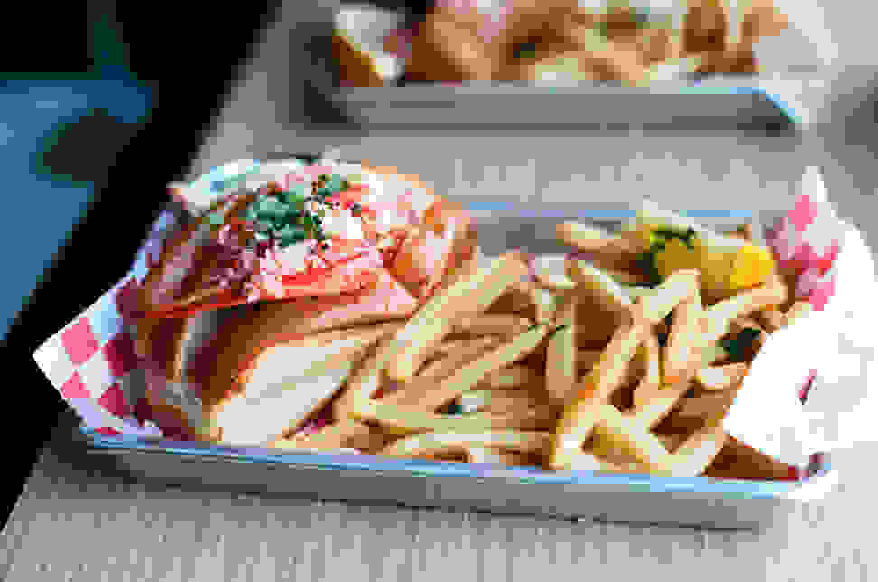 Lobster roll with fries