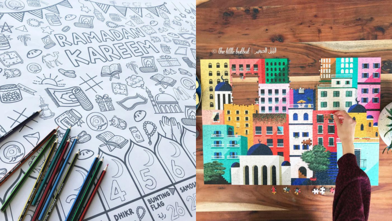 A Ramadan coloring book and puzzle.