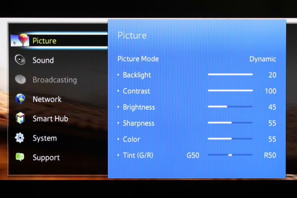 The Samsung UN40H5500's basic picture settings