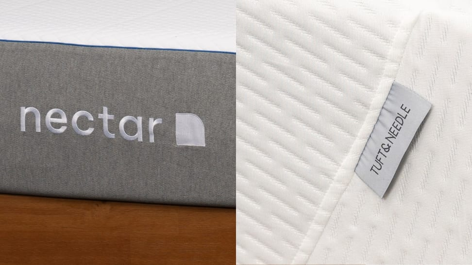 On the left, the Nectar mattress logo in white stitching on a gray background, on the right, the Tuft & Needle tag