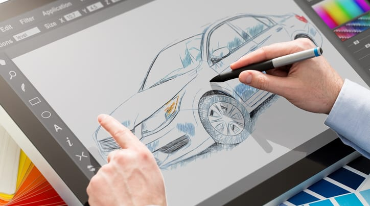 Person coloring a car on tablet with stylus