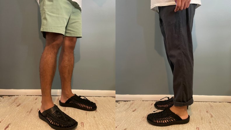 man standing on rug wearing green shorts and Premium Uneek Slides from Keen, man standing on rug wearing navy blue chino pants and Premium Uneek Slides from Keen