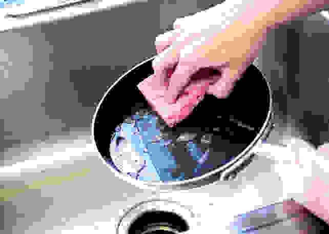 Scrubbing nonstick pan