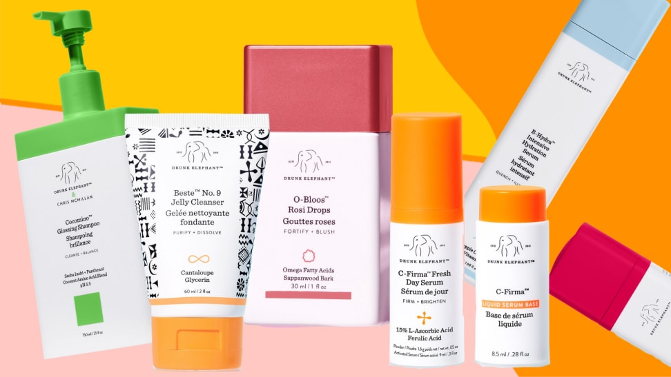 A selection of seven creams, moisturizers and beauty products against a colorful background.