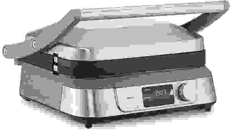 A silver Cuisinart Griddler Five indoor grill viewed from a front right angle.