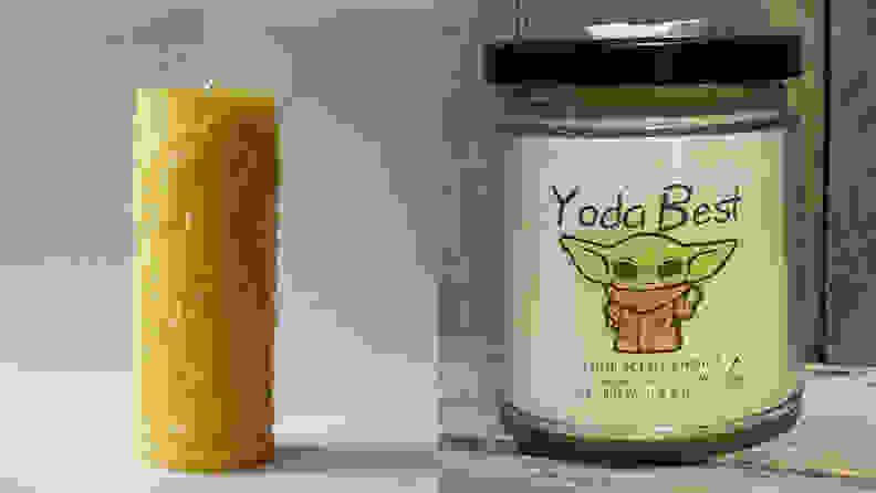 A split image of candles from Etsy, one of the best places to buy candles online.