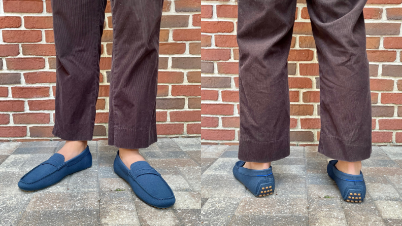 man wearing pair of Rothy's driving loafers