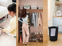 On left, young child using storage container to store items under chair. Person, looking at well-organized closet. On left, modern laundry room.