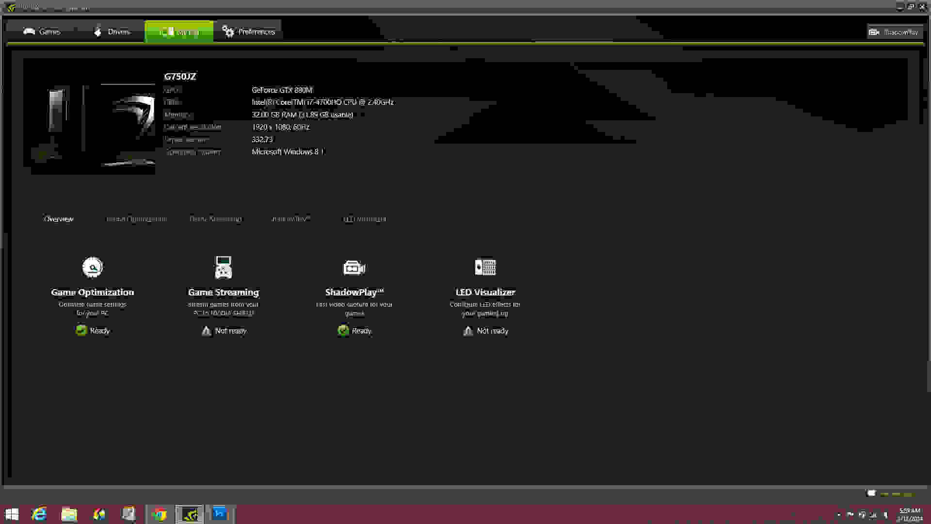 The My Rig tab on Nvidia's GeForce Experience