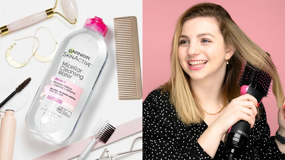 On the left: The Garnier SkinActive Micellar Cleansing Water laying on a white surface with beauty products laying all around it. On the right: A person with long, blond hair running the Revlon One-Step Hair Dryer and Volumizer through their hair and smiling while looking off into the distance.