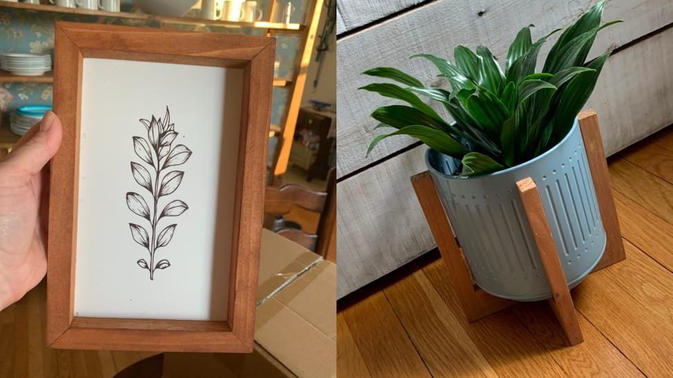 a black and white floral print inside a wooden frame, and at right, a plant grows inside a blue metal planter