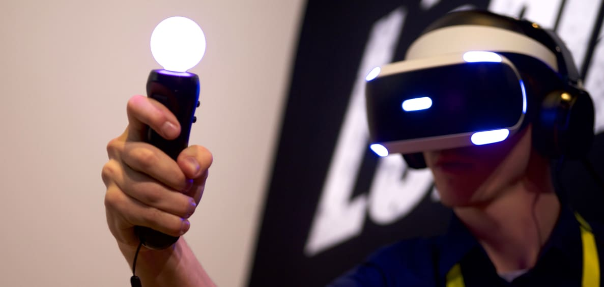With a VR headset, headphones, and controllers, you can enter a whole new world