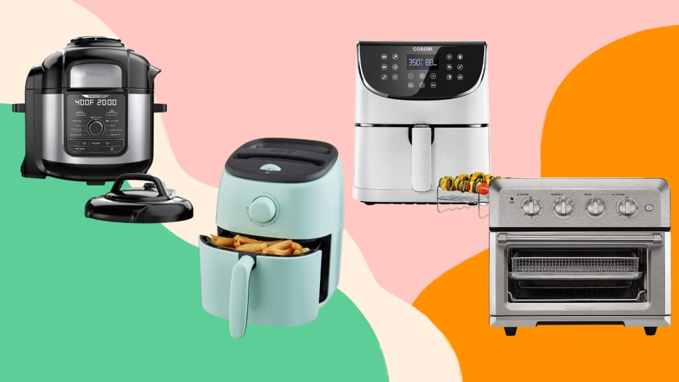 Four air fryers on a multicolored background.