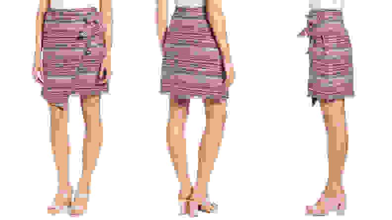 Halogen Asymmetrical Grommet Tie Tweed Skirt