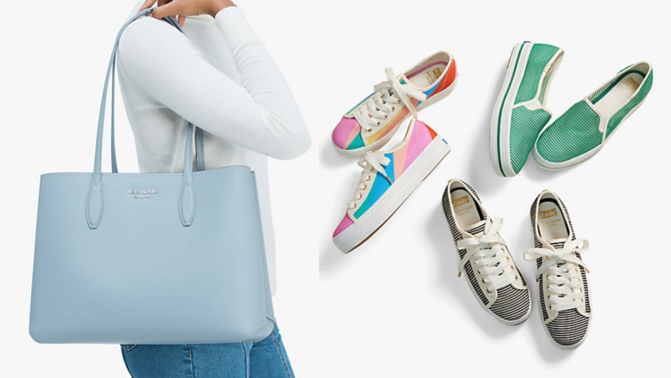 Person wearing pastel blue tote purse on shoulder. On right, three pairs of sneakers.