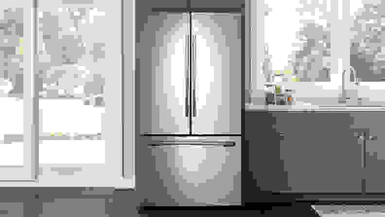 The Samsung RF260BEAESR French door refrigerator is our top rated French door fridge under $1,500