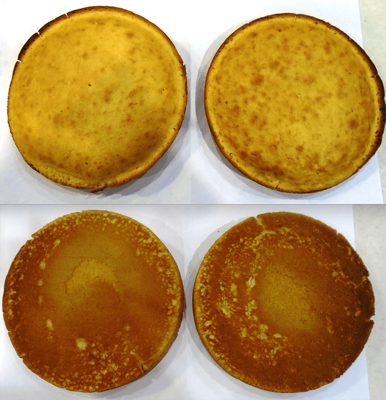 The tops and bottoms of our test cakes.