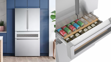 A stainless steel Bosch refrigerator with a beverage drawer.