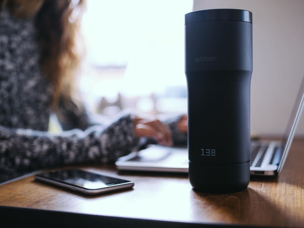 Ember smart travel mug on a desk