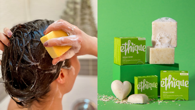 On the left: A person holding a shampoo bar up to their wet hair in the shower. On the right: Three boxes of Ethique shampoo bars stacked on a green box. There are two square shaped shampoo bars and two heart-shaped ones.