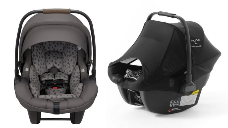 Left.  gray car seat.  Right black car seat with sun visor pulled down