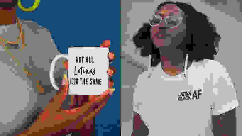 a woman holding a mug next to a woman wearing a white tshirt