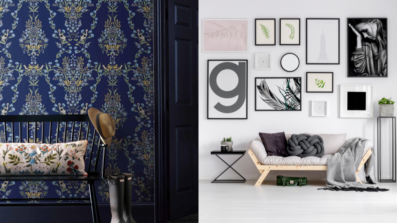 (Left) A luxurious entryway with blue printed wallpaper. (Right) A simple living area with a gallery wall against a white wall.