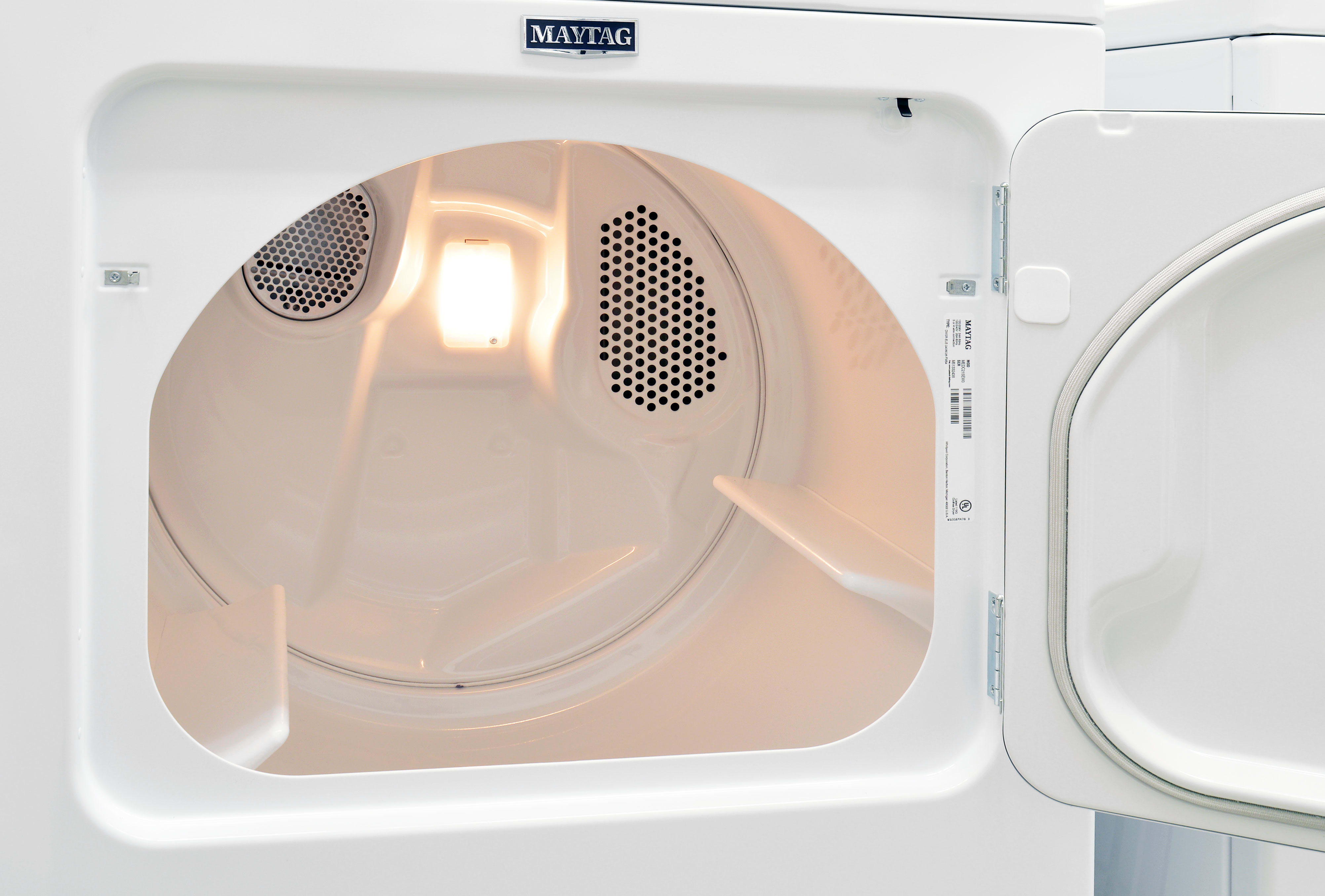 The Maytag Centennial MEDC215EW sports a 7.0-cu.-ft. white interior drum.