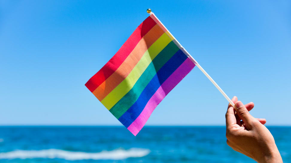 The LGBTQIA+ flag with the ocean in the foreground.