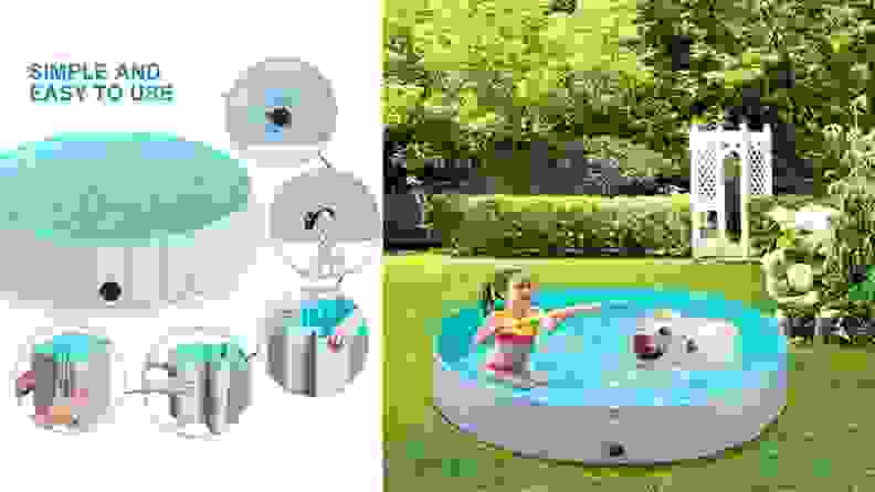 Left: An illustrated diagram shows how to drain and fold the dog swimming pool; Right: A young girl plays with a dog in the mini swimming pool placed in a grassy backyard