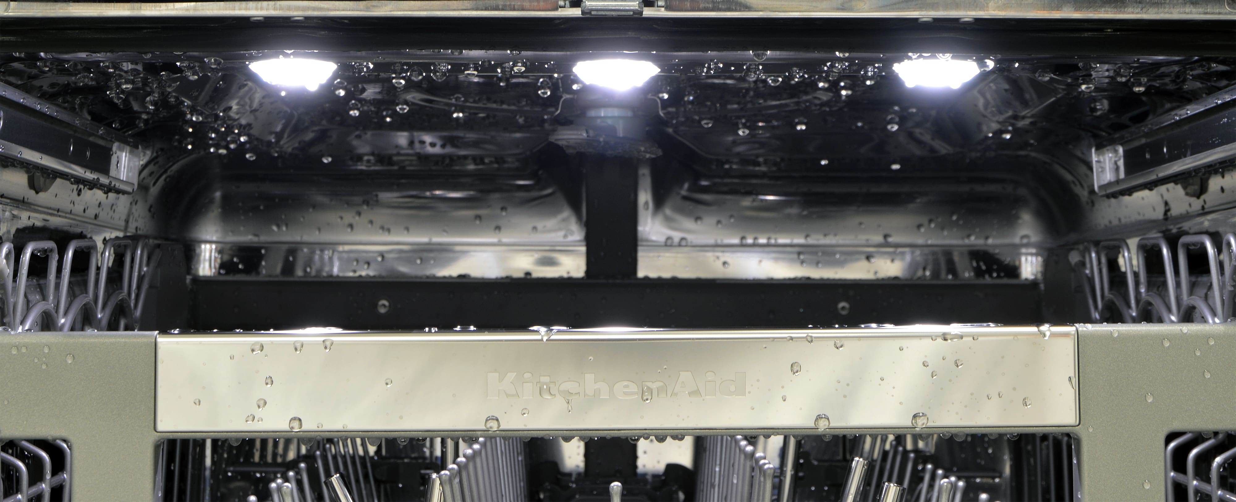 Row of interior lights in the ceiling of the dishwasher
