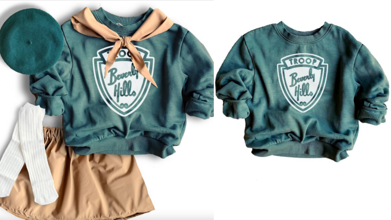 Green girl scout Beverly Hills Halloween costume.