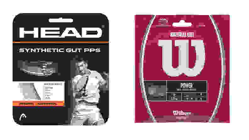 The Head Synthetic Gut PPS Multifilament Tennis Racket String and the Wilson Natural Gut Power Tennis String.