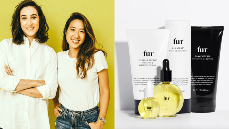 On the left: The founders of Fur stand side by side. On the right: Five fur products including oils and body scrubs are photographed together.