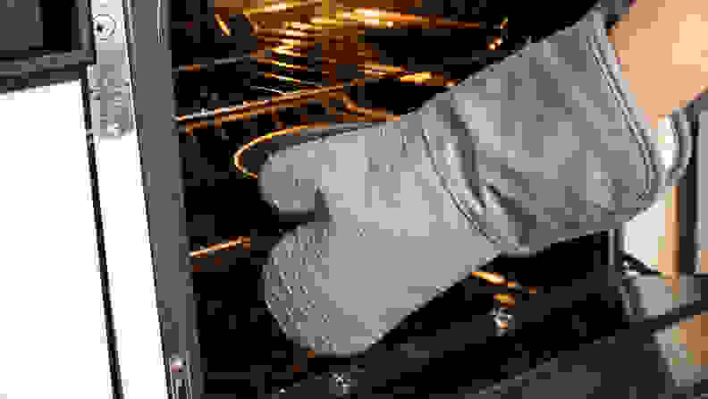 We love the aesthetics of the Food52 silicone oven mitts.
