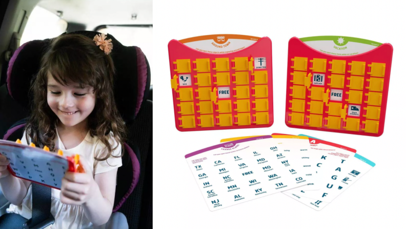 A little girl plays with a bingo game.