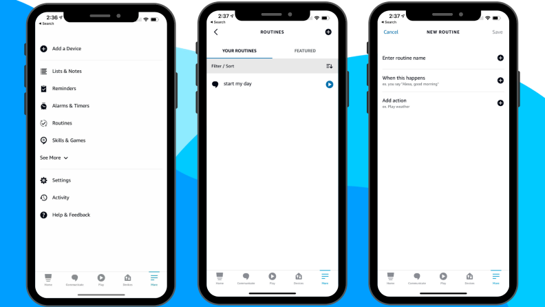 Screenshots from the Amazon Alexa app that show how to create an Alexa Routine