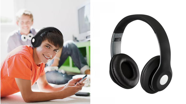 A boy wearing a pair of headphones