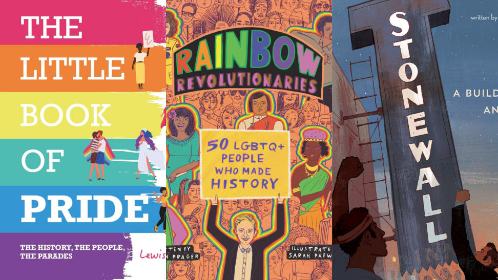 The cover artwork for The Little Book of Pride, Rainbow Revolutionaries, and Stonewall: A Building. An Uprising. A Revolution.