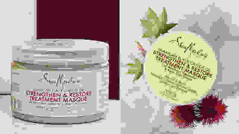 On the left: A transparent SheaMoisture jar. On the right: A top view of the jar with flowers around it.