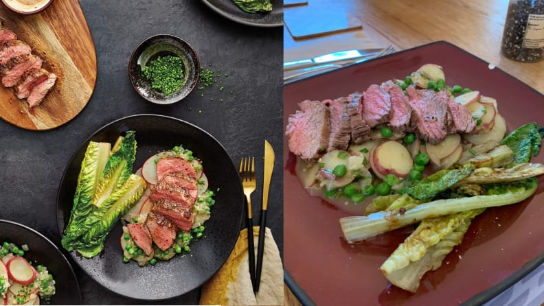Amazon Meal Kit Steak Dinner: PR Photo vs. Actual Photo