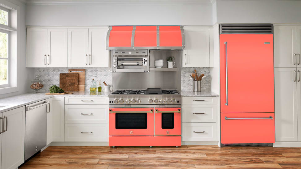 Bold new appliance finishes like BlueStar's Living Coral give kitchens a lift