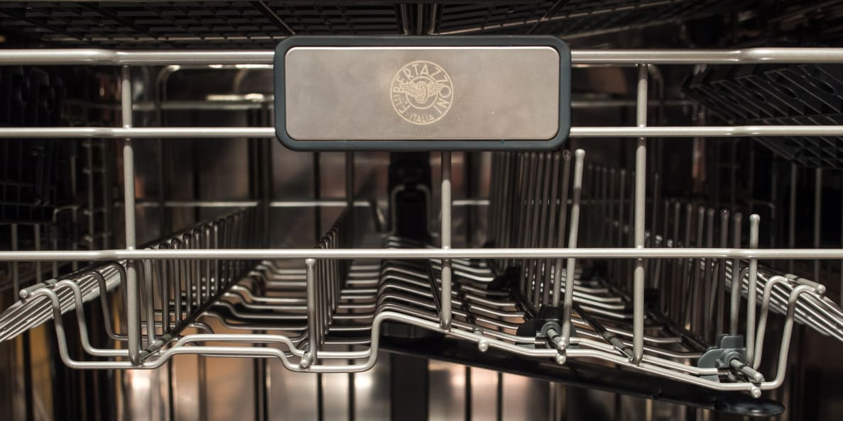 The upper rack of the new Bertazzoni dishwasher