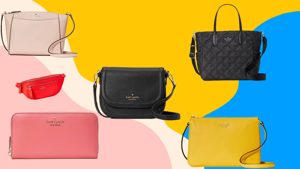 Assorted leather Kate Spade wallets and purses in front of abstract colorful background.