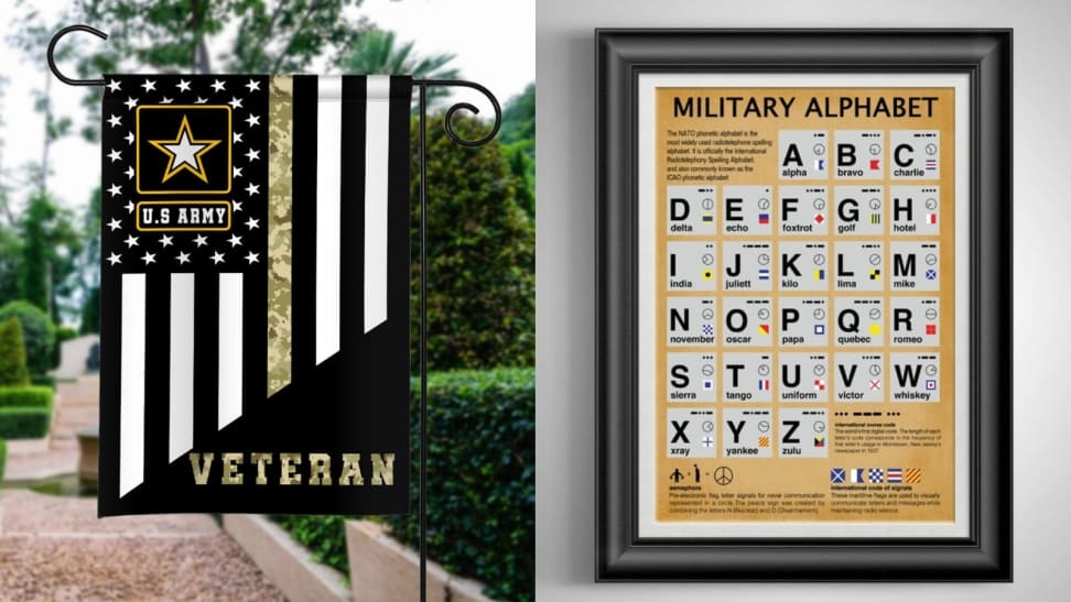Left: Veteran Army Flag; Right: Military Phonetic Aalphabet
