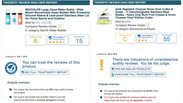 Fakespot good vs. bad reviews