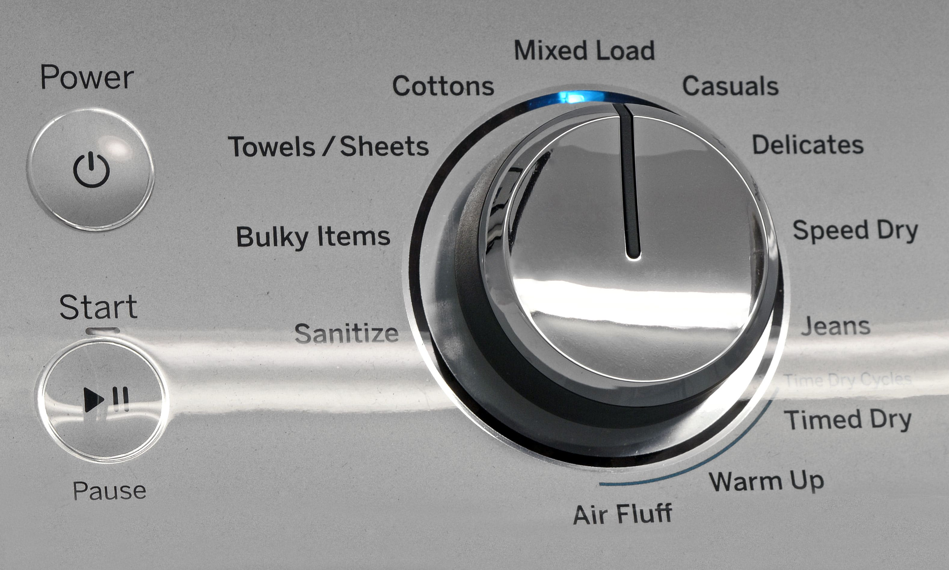 The GE GTD65EBSJWS's cycle list is full of useful options, including a Sanitize setting.